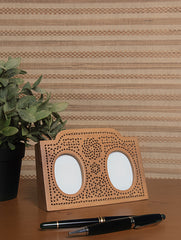 Wooden Jaali Double Frame - Oval. Small