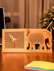 Wooden Jaali Elephant Stationery Stand & Clock
