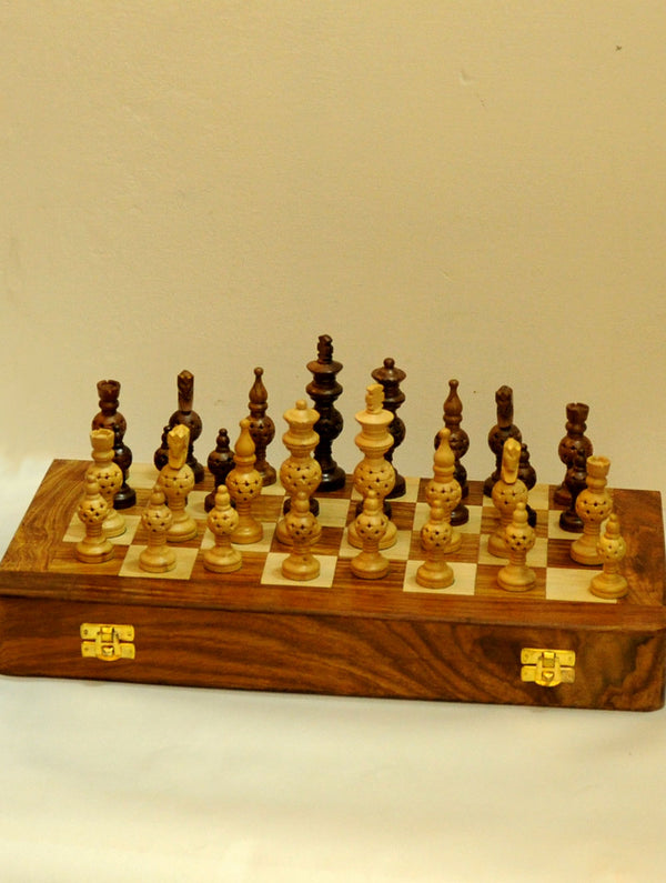 Wooden Carved Chess Set with Large Rosewood Board - Domes Design - The India Craft House