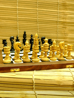 Wooden Carved Chess Set with Rosewood Board - Lotus