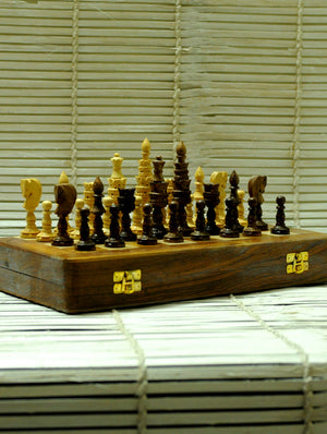 Wooden Carved Chess Set with Rosewood Board - Lotus - The India Craft House