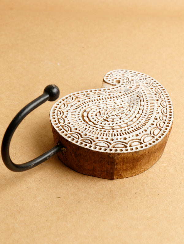 Wooden Carved Wall Hook - The India Craft House