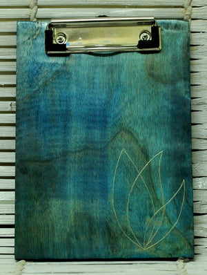 Wooden Engarved Clipboard, Lotus, Small