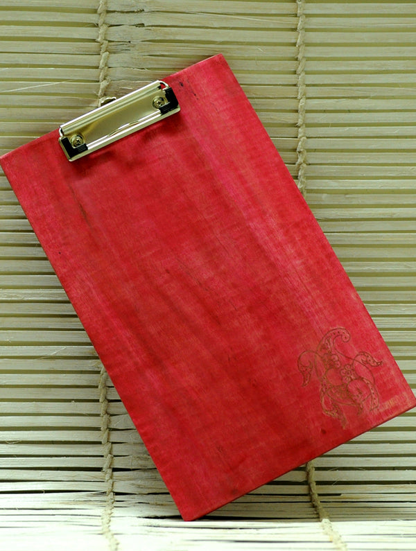 Wooden Engraved Clipboard, Paisley Red, Large - The India Craft House