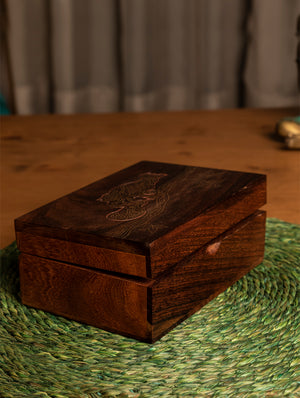 Wooden Engraved Decorative Box with Fine Brass Inlay Work