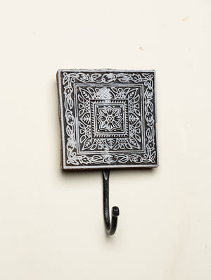 Wooden Engraved Wall Hook - Floral Motif