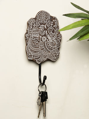 Wooden Engraved Wall Hook - Ganesha Motif - The India Craft House