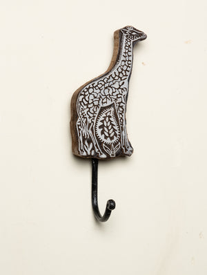 Wooden Engraved Wall Hook - Giraffe Motif - The India Craft House