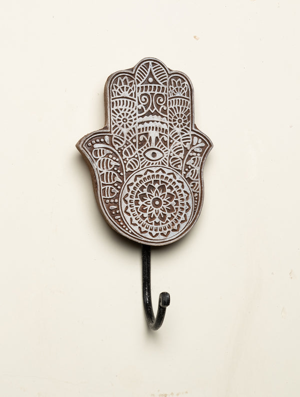 Wooden Engraved Wall Hook - Hand Motif - The India Craft House