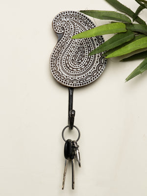 Wooden Engraved Wall Hook - Paisley Motif