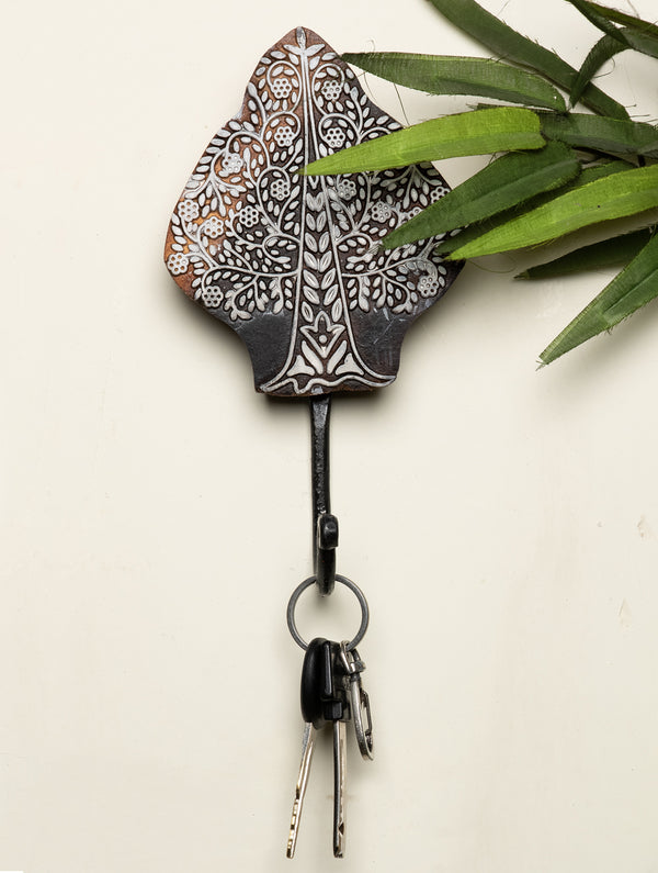 Wooden Engraved Wall Hook - Tree Motif - The India Craft House