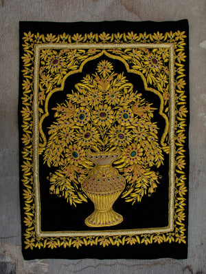 Zardozi Resham Embroidered Wall Hanging - The India Craft House