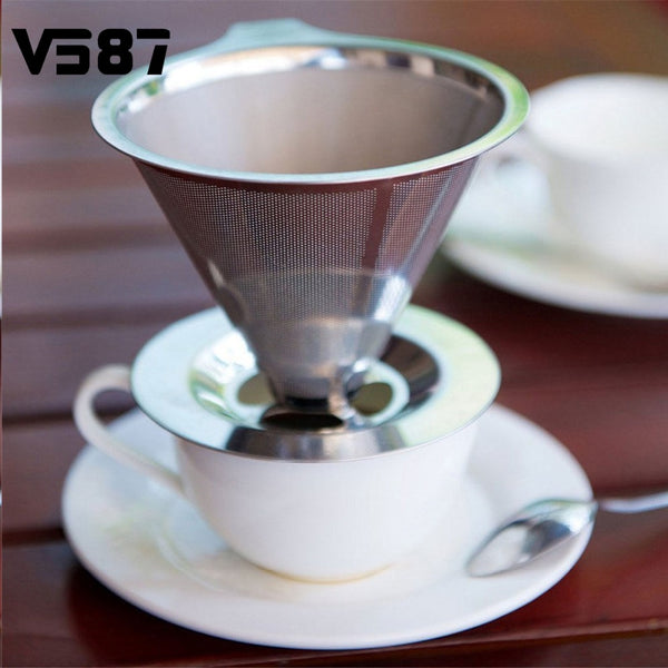 Stainless Steel Pour Over Cone Coffee Dripper Double Layer Mesh Filter Paperless