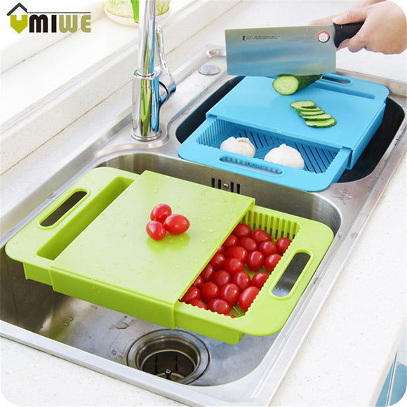 Kitchen Chopping Block Sinks Drain Basket Cutting Board Meat Vegetable Fruit Antibacterial Non-slip Cutting Board With Storage