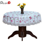 PVC Round Table Cloth Waterproof Oilproof Floral Printed Lace Edge Plastic Table Covers Anti Hot Coffee