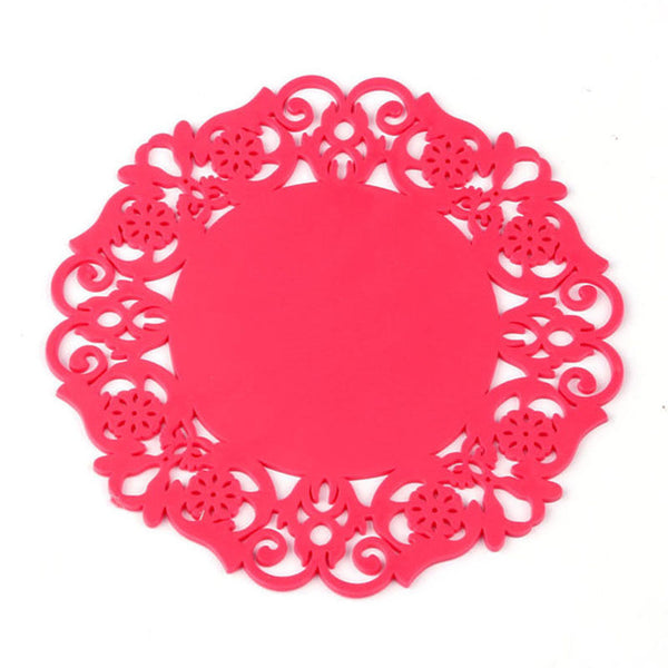 2PCS Colorful Lace Flower Hollow Design Round Silicone Table Heat Resistant