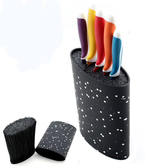 16X22CM Oval shape plastic universal knife holder for  knife with black nylon insert, kitchen knife stand