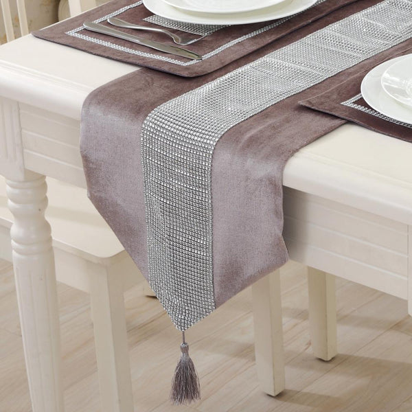 1PCS Table Runners Rhinestone Technology Cotton Linen Polyester Fabric