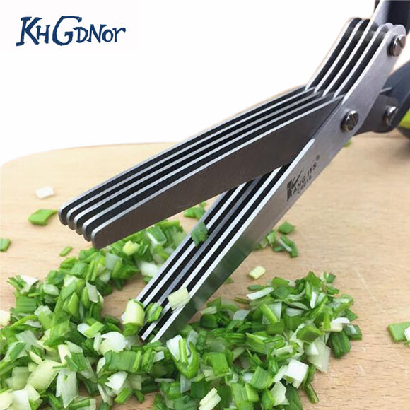 Multifunctional Stainless Steel 5 Layers Knives Sushi Scallion Cut Kitchen store Scissors