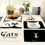 42x32cm Cartoon Cat Printed Placemats Dining Tables Coaster Cloth Insulation