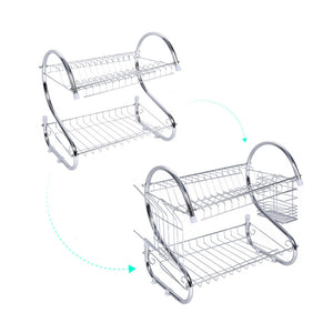 2 Tiers Dish Drying Rack Home Washing Holder Basket Plated Iron Great Kitchen Sink Dish Drainer Drying Rack Organizer