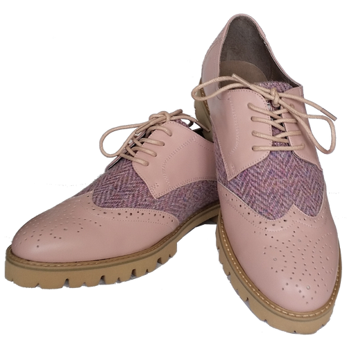 Ladies Brogues with Harris Tweed (Pink)