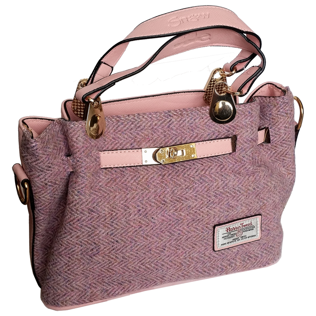 Pink Midi Tote Bag with Harris Tweed