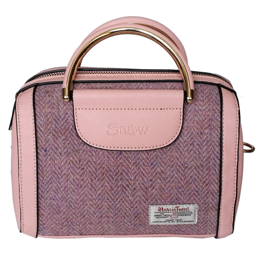 Pink Oval Tote Bag with Harris Tweed