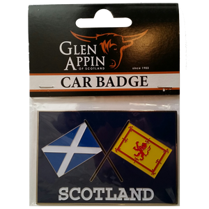 Crossed Flags Scotland Car Badge