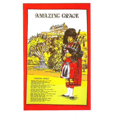 Teatowel - Highland Piper with Amazing Grace