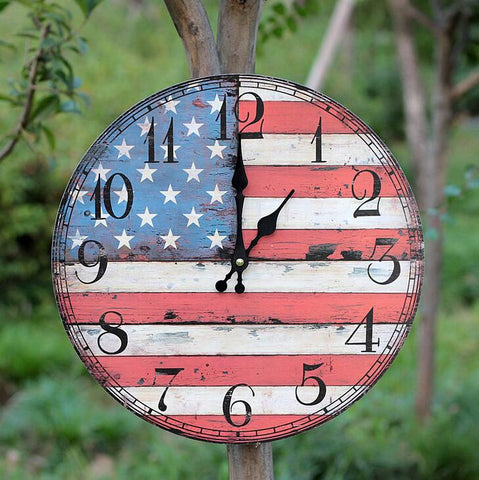 US flag pattern wood wall clock