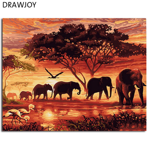 Elephants family oil painting canvas