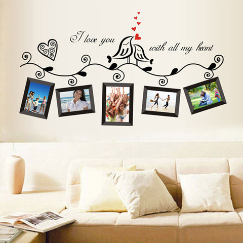 Tree bird photo frame decal sticker
