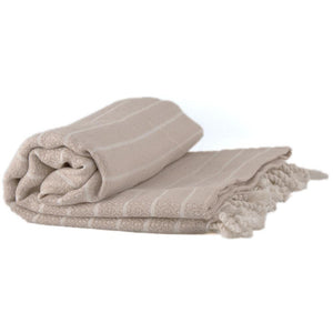 Bamboo & Cotton Peshtemal Towel - Block Stripe (Beige) - All Bamboo Limited