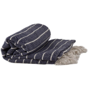 Bamboo & Cotton Peshtemal Towel - Block Stripe (Navy) - All Bamboo