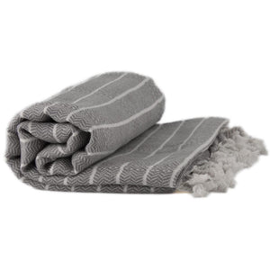 Bamboo & Cotton Peshtemal Towel - Block Stripe (Pewter) - All Bamboo