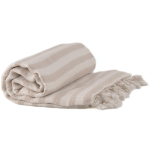 Bamboo & Cotton Peshtemal Towel - Narrow Stripe (Beige) - All Bamboo Limited