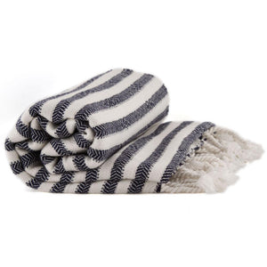 Bamboo & Cotton Peshtemal Towel - Narrow Stripe (Navy) - All Bamboo Limited