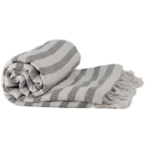 Bamboo & Cotton Peshtemal Towel - Narrow Stripe (Pewter) - All Bamboo Limited