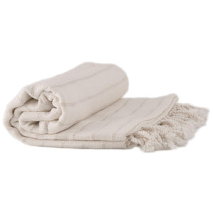 Bamboo & Cotton Peshtemal Towel -  Pin Stripe (Beige) - All Bamboo Limited