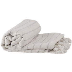 Bamboo & Cotton Peshtemal Towel -  Pin Stripe (Pewter) - All Bamboo Limited
