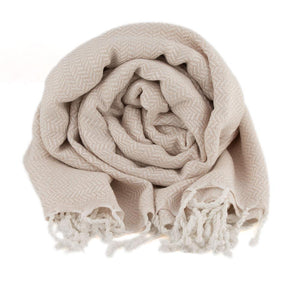 Bamboo & Cotton Peshtemal Scarf Wrap -  Herringbone (Beige) - All Bamboo