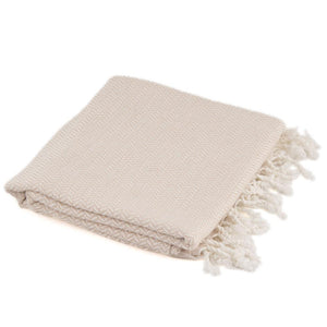 Bamboo & Cotton Peshtemal Scarf Wrap -  Herringbone (Beige) - All Bamboo Limited