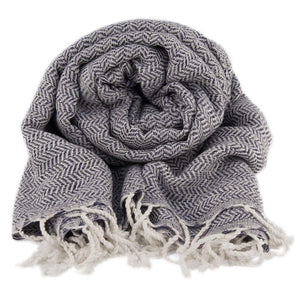 Bamboo & Cotton Peshtemal Scarf Wrap -  Herringbone (Navy) - All Bamboo