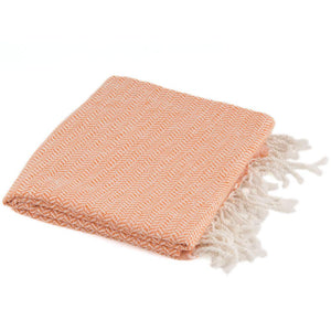 Bamboo & Cotton Peshtemal Scarf Wrap -  Herringbone (Tangerine) - All Bamboo