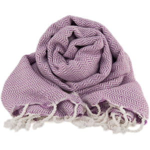 Bamboo & Cotton Peshtemal Scarf Wrap -  Herringbone (Thistle Mauve) - All Bamboo Limited