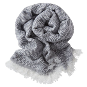Bamboo & Cotton Peshtemal Scarf Wrap -  Herringbone (Anthracite) - All Bamboo