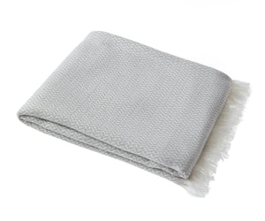 Bamboo & Cotton Peshtemal Scarf Wrap -  Herringbone (Silver Grey) - All Bamboo