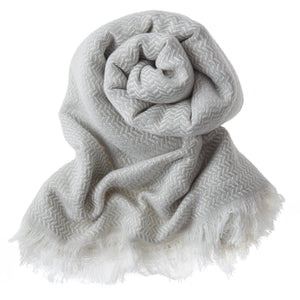 Bamboo & Cotton Peshtemal Scarf Wrap -  Herringbone (Silver Grey) - All Bamboo Limited