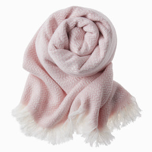Bamboo & Cotton Peshtemal Scarf Wrap -  Herringbone (Soft Pink) - All Bamboo Limited